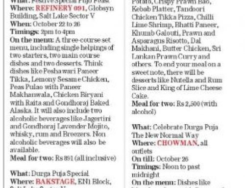Chowman's Puja Menu Featured in Telegraph